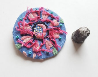 Rustic Cottage Charm Brooch - Blue and Pink - Large - Vintage Fabric Brooch - Embroidered Beaded - Vintage Embroidery - Hand Sewn - OOAK
