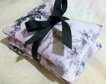 Organic Lavender Sachets -Set of 3  Black and White French Toille  print cotton