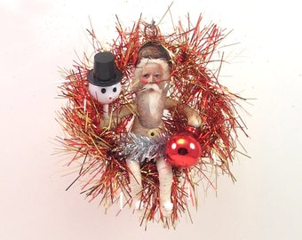 READY TO SHIP Vintage Inspired Spun Cotton Fire Tinsel Wreath Santa Ornament Ooak