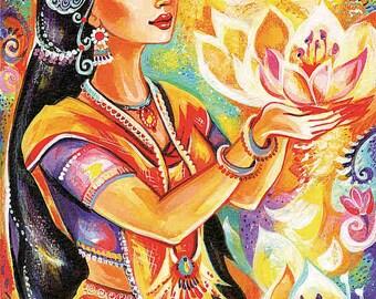 Spiritual art, praying woman, inspirational painting, Indian goddess print, yoga lotus art, beauty painting print 8x11.5+