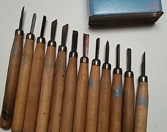 Vintage Carving Tools, made in Japan, set of 12 with repurposed metal Bandaid tin