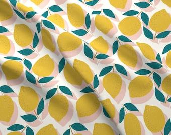 Lemon Fabric - Lemons By Littlefoxhill - Lemon Yellow Pink Mod Citrus Fruit Kitchen Decor Cotton Fabric By The Yard With Spoonflower
