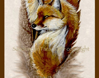 Fox Mates Couple Feather Print