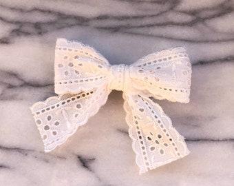 Charlotte Eyelet Bow, Lace Bow, Baby Bow, White Bow, Eyelet lace