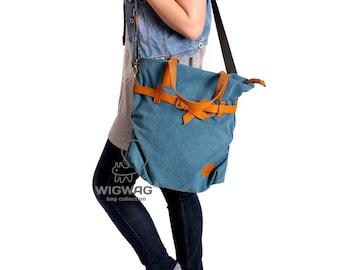 Women's canvas leather bag, messenger bag, crossbody bag, large women bag, convertible canvas bag, leather belt, shoulder womens canvas bag
