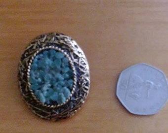 "Vintage ""Jade"" Goldtone Brooch/Pendant"
