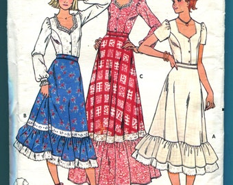 Butterick 6086 Tiered Skirt Blouse Hippie Vintage Sewing Pattern Misses Size 13  14 UNCUT