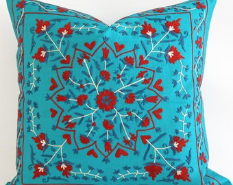 SALE ! - Blue Red Turquoise Silk Suzani Pillow Suzani Pillow  Blue Hand Embroidered Silk Vintage Organic Pillow Decorative Pillows For Couch