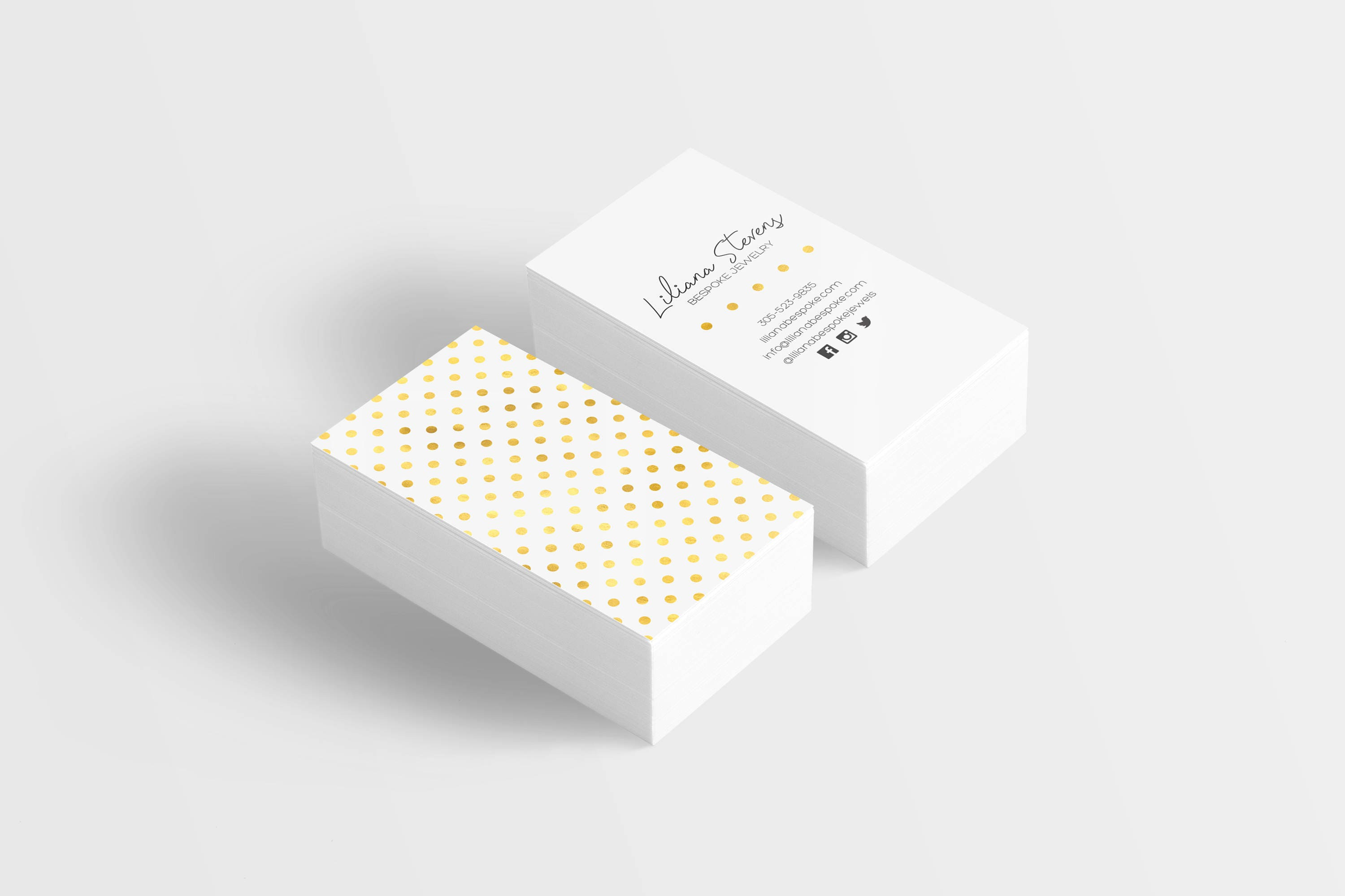 Gold Foil Polka Dot Business Card Rose Gold Foil Business