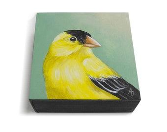 Goldfinch painting - gold finch artwork - realistic bird painting - bird portrait - yellow bird decor - gift for birdwatcher - songbird