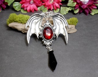 Red Gothic Bat Wing Necklace - Bat Wing Necklace - Victorian Bat Wing - Bat Point Necklace - Free US Shipping