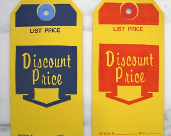Two Dozen Vintage Retro Discount Price Store Tags Tickets - Heavy Cards - New Old Stock