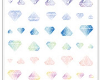 Pastel Diamond Stickers with a Clear Background