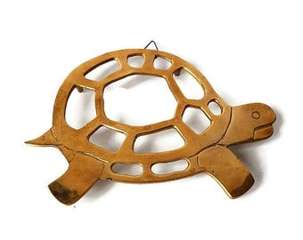 Vintage Brass Turtle Trivet/ Collectible Solid Brass Turtle Wall Hanging/ Turtle Hot Plate Gift