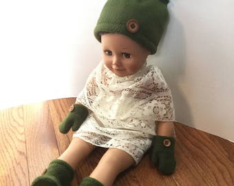 "Fleece Hat Booties & Mittens Set for 18 Inch Dolls. Girl or Boy Doll. Army Green Fleece with Button Trims. 18"" Boy Doll Clothes Mitts Boots"