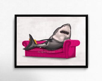 Shark Print, Living Room Wall Art, Large Wall Art, Great White Shark, Surreal Art, Surreal Art Print, Shark Wall Art, Bedroom Wall Art