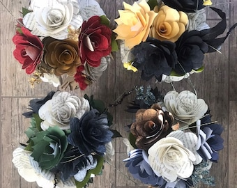 Harry Potter House Bouquets, Harry Potter Paper Flowers, Harry Potter Roses, Gryffindor Bouquet, Hufflepuff Bouquet