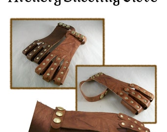 PATTERN - Archery Shooting Glove pattern - leathercraft pattern - PDF instant download ONLY