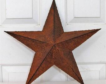 Embossed Rust Barn Star   FREE SHIPPING   Christmas Gift   RUST Tin Star  Wreath