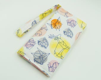 Origami Animals Bifold Wallet, Small Clutch Purse, Zipper and Card Pockets,