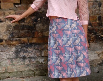 Skirt BIO-Miltraud: organic cotton, grey-blue, birds