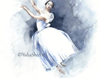 Original watercolor painting dancing ballerina Giselle ballet home decor wall decor 11x14""