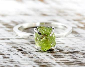 Engagement Ring Wedding Ring Engagement Rings Unique Engagement Sterling Silver Ring Peridot Ring Peridot Ring Silver Uncut Peridot Ring
