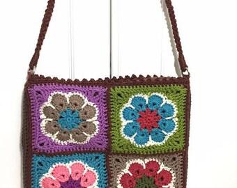 Handmade bag/ Crochet shoulder bag/ Motifs bag/ Brown