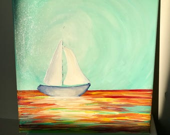"Sailboat on Multicolored Glimmering Water Original Acrylic Painting - 10""x10"" canvas"