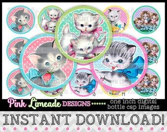 "Vintage Kittens 2 - INSTANT DOWNLOAD 1"" Bottle Cap Images 4x6 - 935"