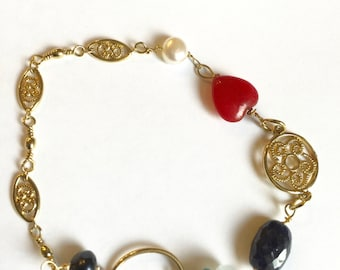 Ruby Heart, Sapphire, Gold Bracelet, Angelite, Red white blue, Patriot, Gold fill Lilyb444