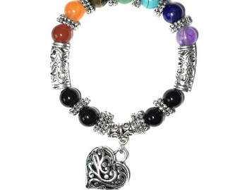 Chakra Gemstone Bracelet w Heart Pendant