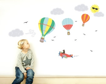 Childrens Wall Decals // Childrens Wall Stickers // Kids Wall Decals // Nursery Decor // Hot Air Balloon Decals