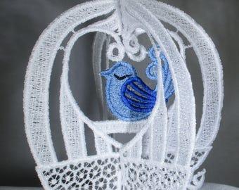 3-D Lace Applique -Little Bird in a Cage
