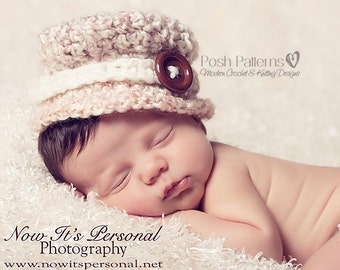 Crochet PATTERN - Crochet Hat Pattern -  Little Lady Dress Hat - PDF 248 - Includes 3 sizes Newborn to 12 Months - Photo Prop Pattern