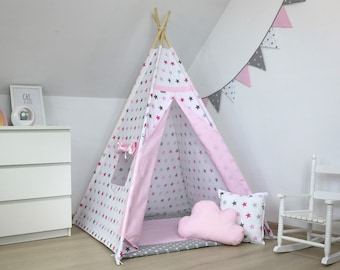 Teepee tent +pillows, Childrens Teepee, Tipi, tipi tente pour une fille, Tepee, Baby Teepee, wigwam Tipi zelt, kids teepee, Grey/pink stars