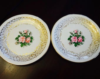 Tudor Rose; Bread and Butter Plates; Set of Two; Georgian China; USA Origin; Set of Two; Approx. 6 inches; Romantic !!!