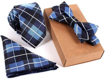 Slim Tie, Bow Tie & Pocket Square Set