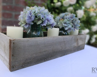 Large Rustic Table Centerpiece,  Reclaimed Wood, Rustic Table Decor, Flowers, Succulents, Ball Jars