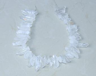 Clear Quartz Points - Quartz Crystal Points - Random length - 16 inch strand - 10mm - 45mm - 5449