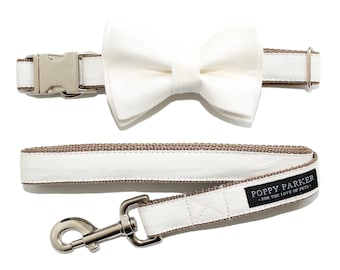Layered Dog Bow Tie - Ivory Linen - Optional Matching Leash - Dog in Wedding