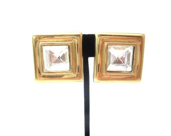 Pair of Vintage Authentic Designer Givenchy Paris New York Signed Square Shaped Gold Tone Metal & Clear Faceted Rhinestone Clip On Earrings