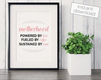 Motherhood Print, Mom Gift, New Mom Gift, Christmas Gift, Mother's Day Gift, Mom Gifts, Birthday Gift, Digital Download, Printable Art