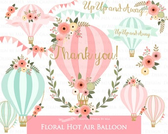 Air Balloon, Hot Air Balloon, Floral, Air Balloon Digital, Pink and Mint, Air Balloon Clip Art - Instant Download - CA145