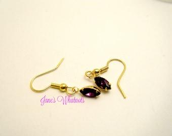 Earrings - Amethyst Marquis Drop - Gold - Swarvoski Elements - E456 - E451