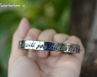 I'm with you till the end of the line 8mm stainless steel hand stamped Bracelet Cuff handwriting font Captain America and Winter soldier