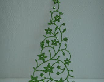 Cutout tree green snow glitter for scrapbooking or card