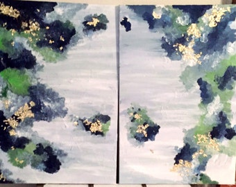 Medium Blue and Green Abstract Acrylic Painting - Set of 2