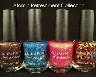 Quaint Paints Lacquer indie nail polish Atomic Refreshment Collection all 4 colors full size inspired by Fallout video games
