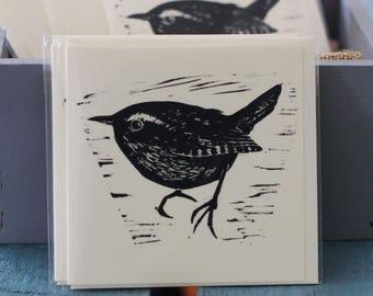 Wren linocut card